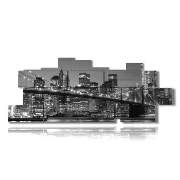 tableaux de New-York en noir et blanc avec des lumières