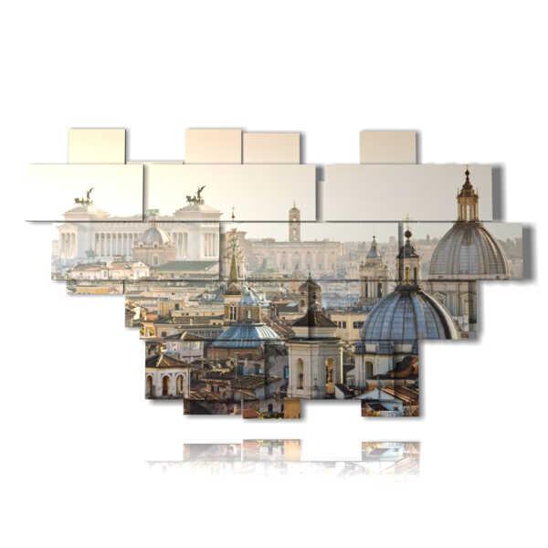 quadro tetti di roma panoramica