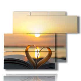 coucher du soleil-tableaux dans un livre au coeur