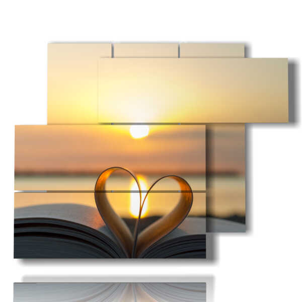 quadro tramonto in un cuore di libro