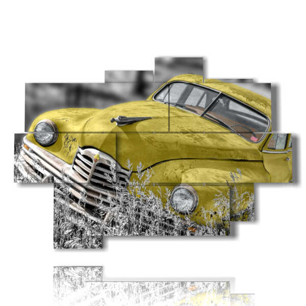 quadri con auto vintage yellow