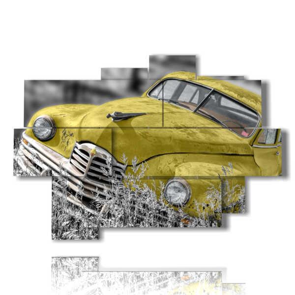 tableaux avec voitures anciennes jaune