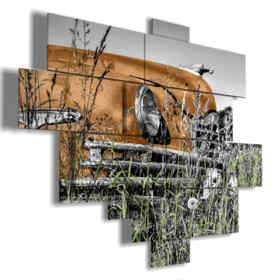 quadro automobile d'epoca arancio