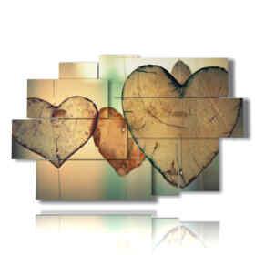 tableaux modernes avec des coeurs en bois
