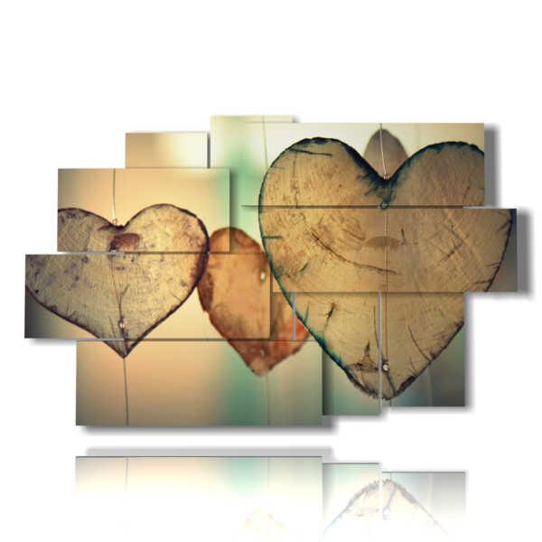 cuadros modernos con corazones de madera