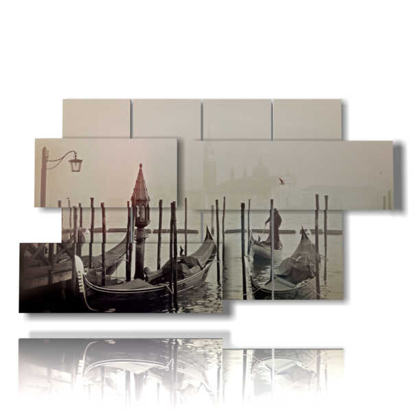 paintings of Venice gondolas and fog