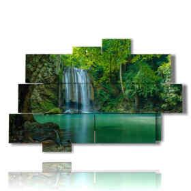 Bilder mit Wasserfällen in einem Spritzer grün