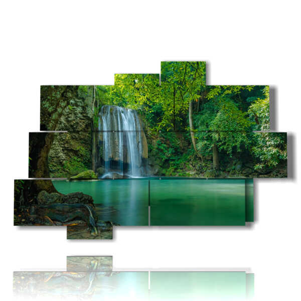 cuadros con cascadas en un toque de verde