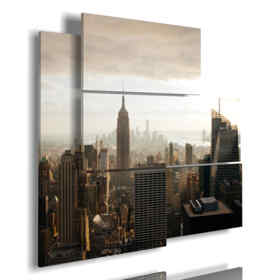 painting New York skyline at sunrise