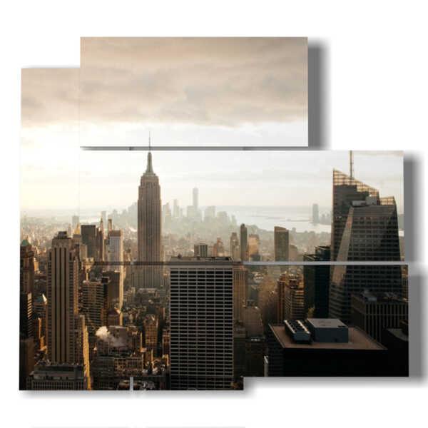 quadro skyline new york all'alba