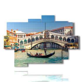 Peinture moderne sur le pont du Rialto de Venise