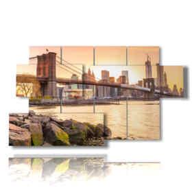 NY Bild Farben des Sonnenuntergang auf dem Deck
