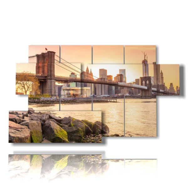 quadro ny colori del tramonto sul ponte