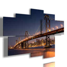 quadro golden gate illuminato a notte
