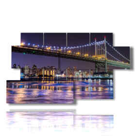 quadri astratti di new york nelle luci notturne
