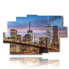 Modern paintings Brooklyn Bridge illuminated