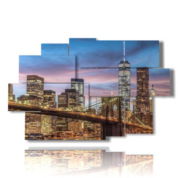 cuadros puente de Brooklyn iluminado
