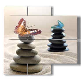 mariposas cuadro y piedras