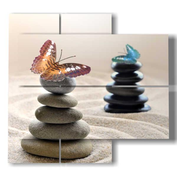 quadro farfalle e sassi