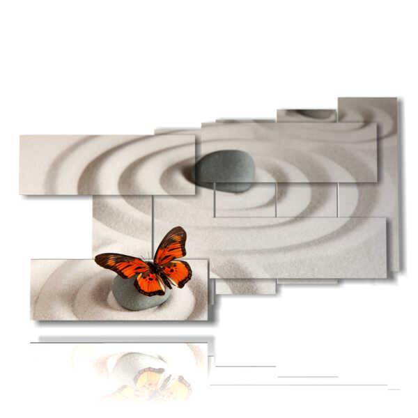 quadri farfalle rosse in mondo zen