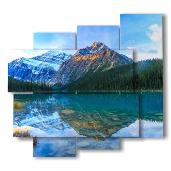 tableaux avec des lacs et des montagnes