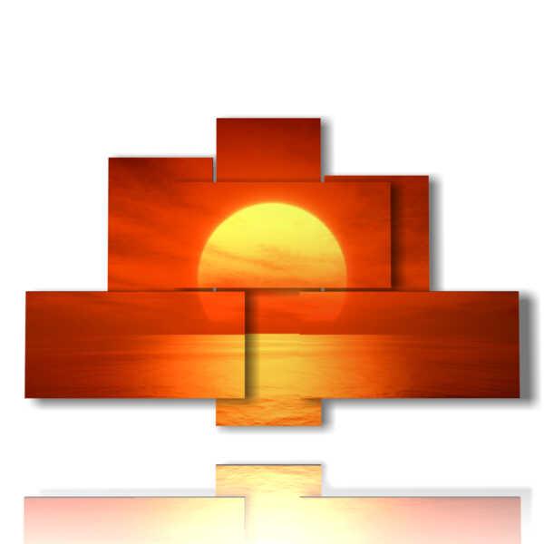 cuadros con la puesta de sol rojo sol