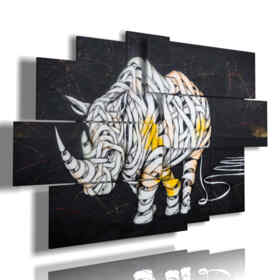 abstract animal blindfolded Rhino paintings