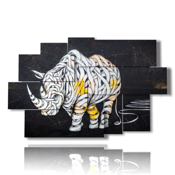 quadri astratti animali rinoceronte bendato
