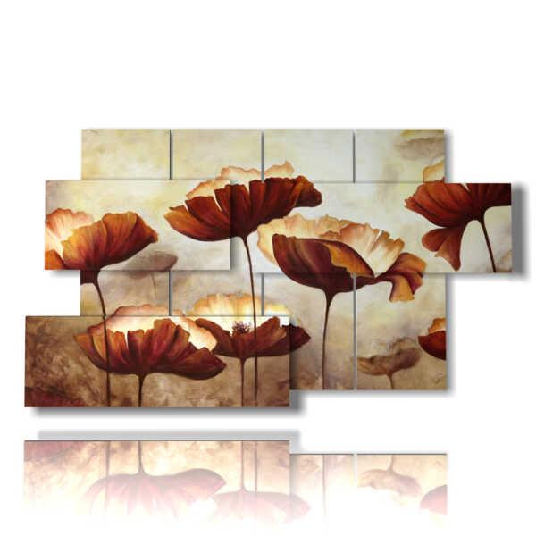 quadro con dipinti astratti colorati papaveri