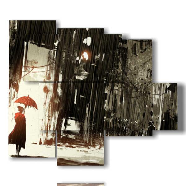 tableaux abstraites tableaux dans une ville dans la pluie