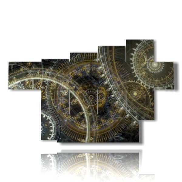 cuadro moderno en paneles y engranajes