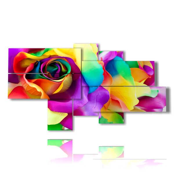 Résumé pétales de fleurs colorées tableaux