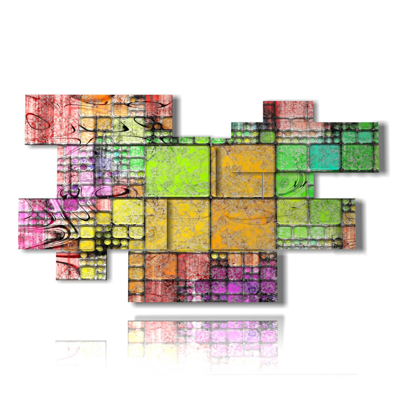quadri geometrici moderni quadrati colorati 3D DUUDAART