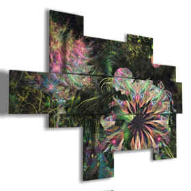 paintings of abstract flowers in bright bubbles