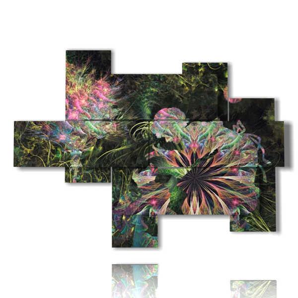 tableaux de fleurs abstraites dans des bulles lumineuses