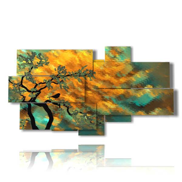 cuadros de la naturaleza con el árbol en otoño