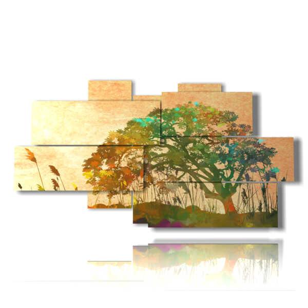 quadro di dipinto astratto con albero immaginario