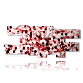 zeitgenössische moderne Bilder in roten Tupfen und Schwarzen
