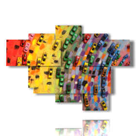 abstract modern paintings rainbow of toy cars