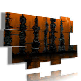 modern painting abstract brown skyscrapers