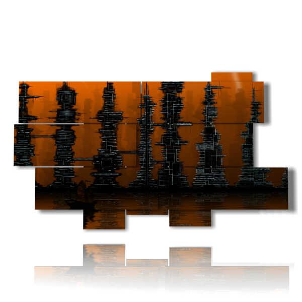 tableaux abstraite moderne gratte-ciel brun