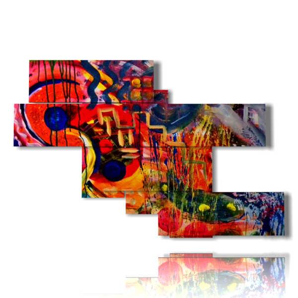 moderne Malerei mit roten und blauen