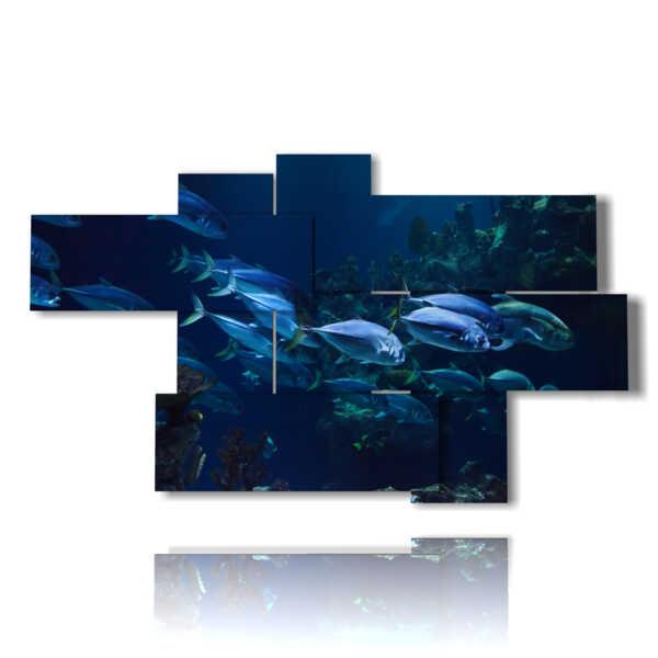 cuadros modernos con peces en el azul profundo
