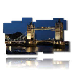 picture with photos of London at night Tower Bridge