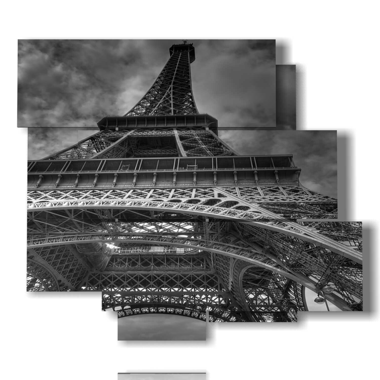 Parigi quadri famosi Torre Eiffel bianco e nero 3D DUUDAART