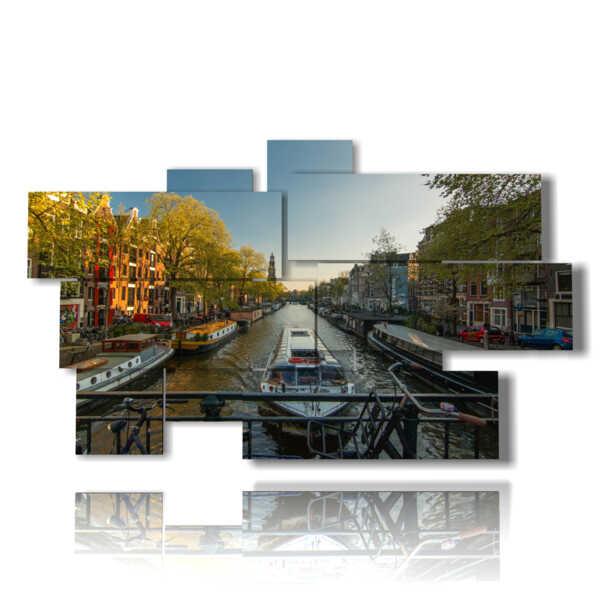 cuadro con fotos Canales de Amsterdam sobre el puente