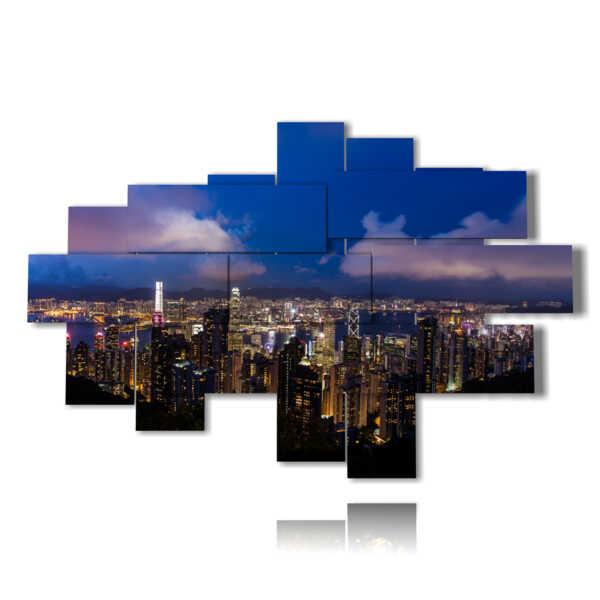 cuadro con fotos horizonte de Hong Kong