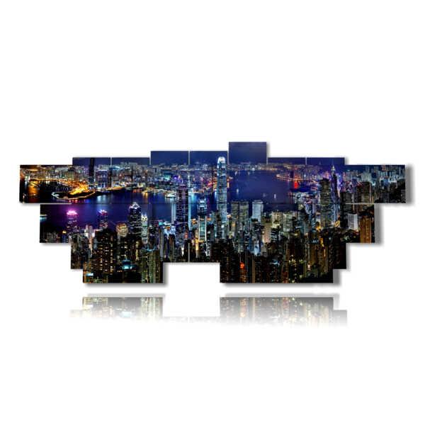 cuadro con fotos Vista a la ciudad de Hong Kong desde arriba