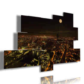 London photo painting with full moon night