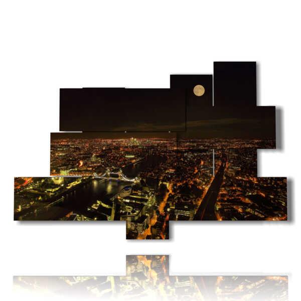 quadro con foto Londra notte luna piena